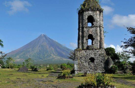 The ruin of an old church near Mayon Volcano