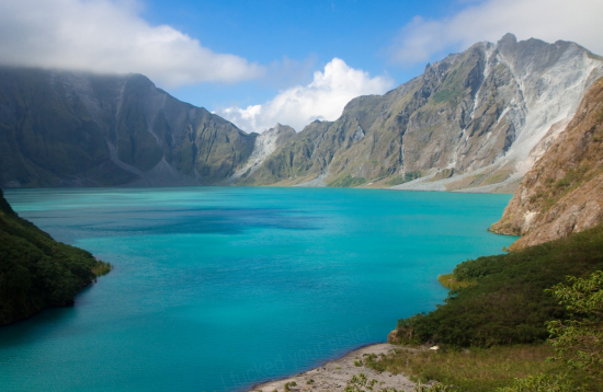 Panoramic view of the crater lake in Mount Pinatubo