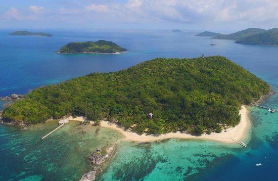 Aerial view of Taytay's Flower Island Resort