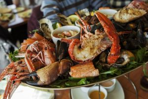 A plate of seafood served in Palawan's restaurants