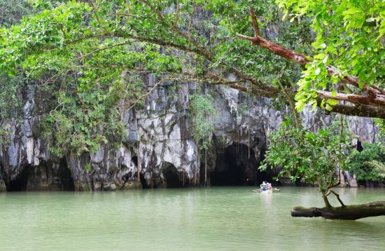 Tourist going on a cruise into the Underground River in Palawan