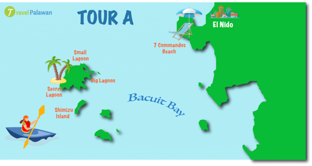 Map of the highlights of El Nido Tour A