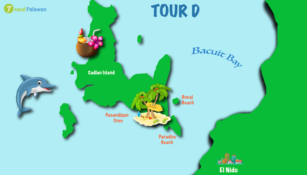 Map of the highlights of El Nido Tour D