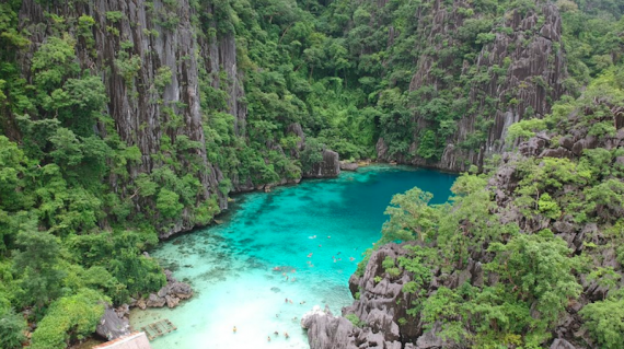 Aerial view of Coron's Twin Lagoons, Palawan