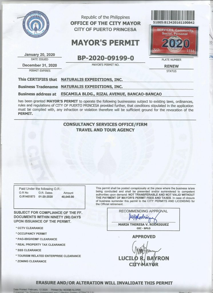 Mayor Permit Palawan